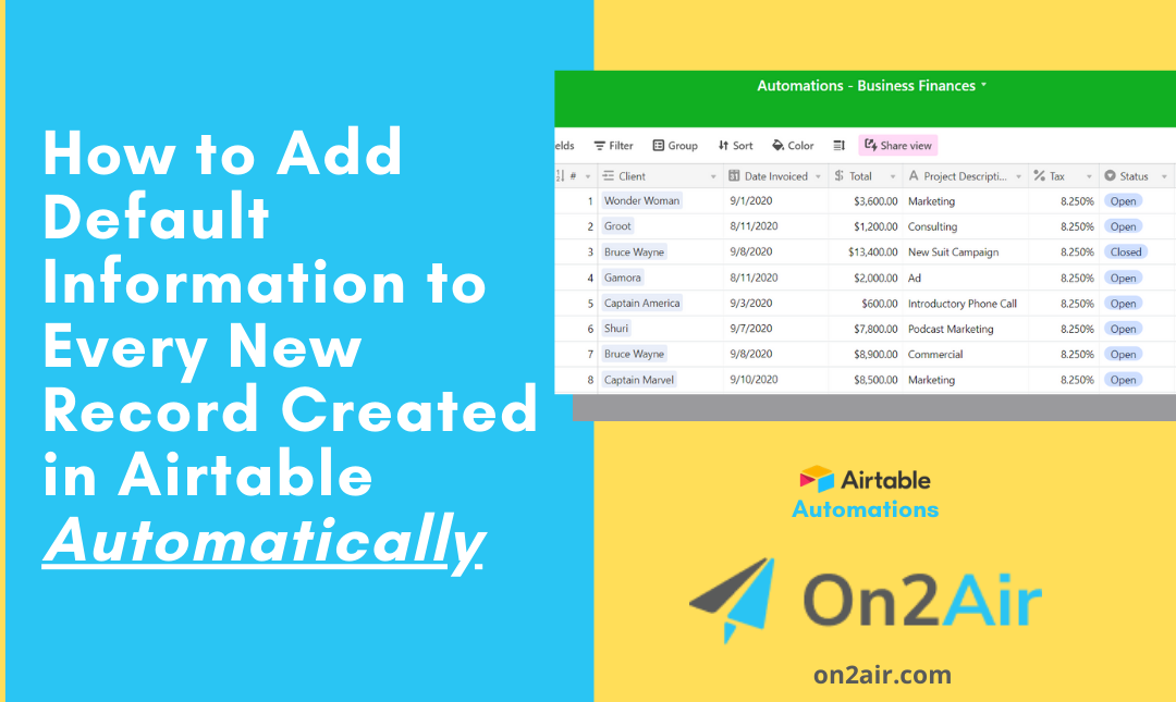 Featured - How to Add Default Information to Every New Record Created in Airtable Automatically
