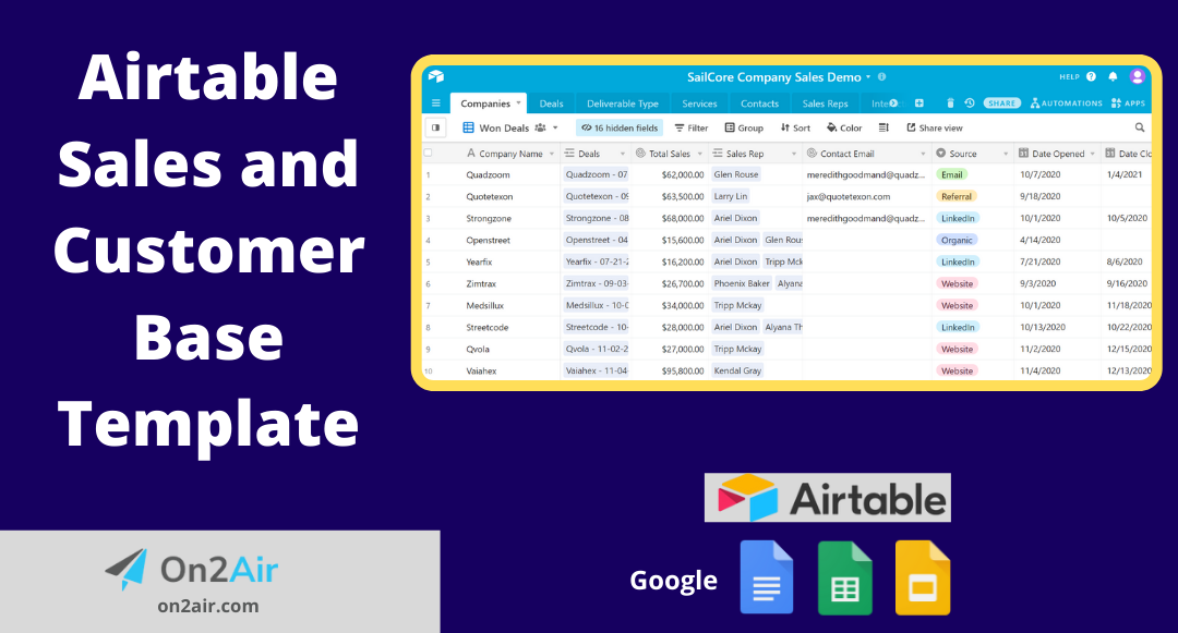 Airtable Sales and Customer Base Template