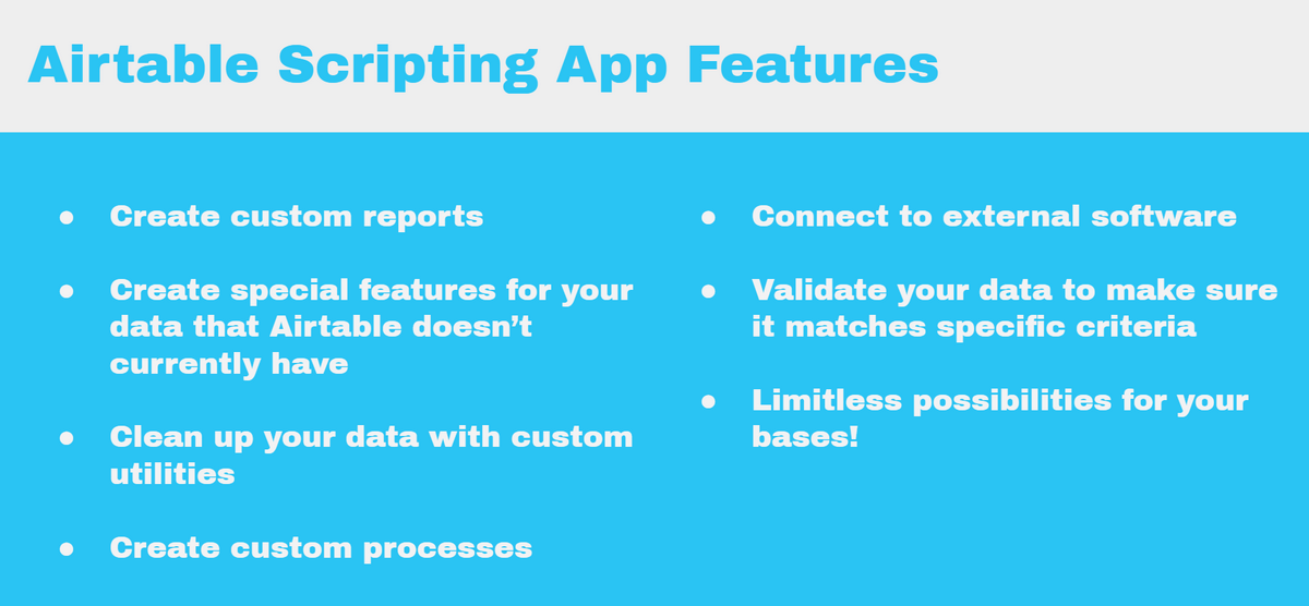 airtable scripting app features