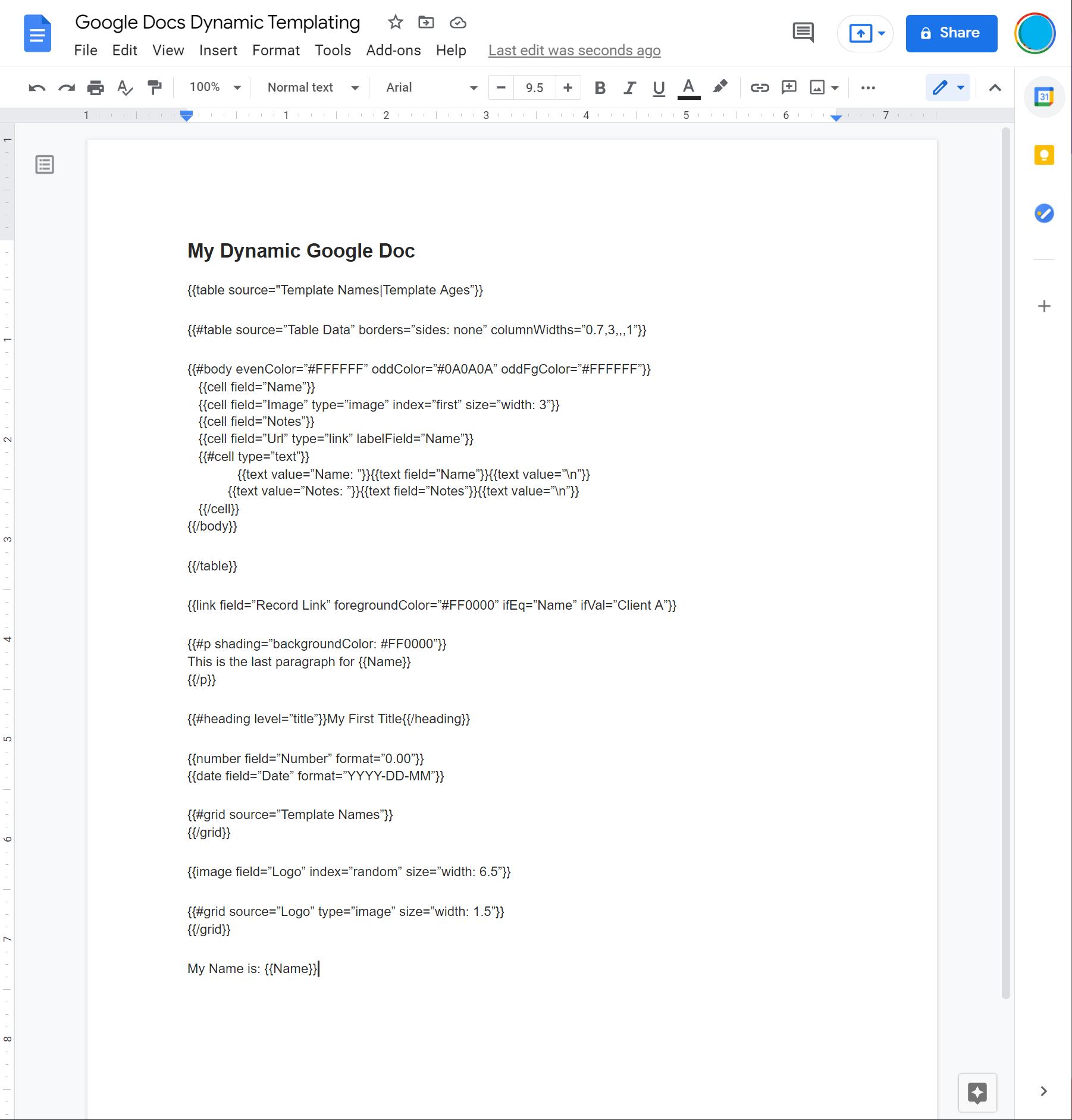 google docs - dynamic templating