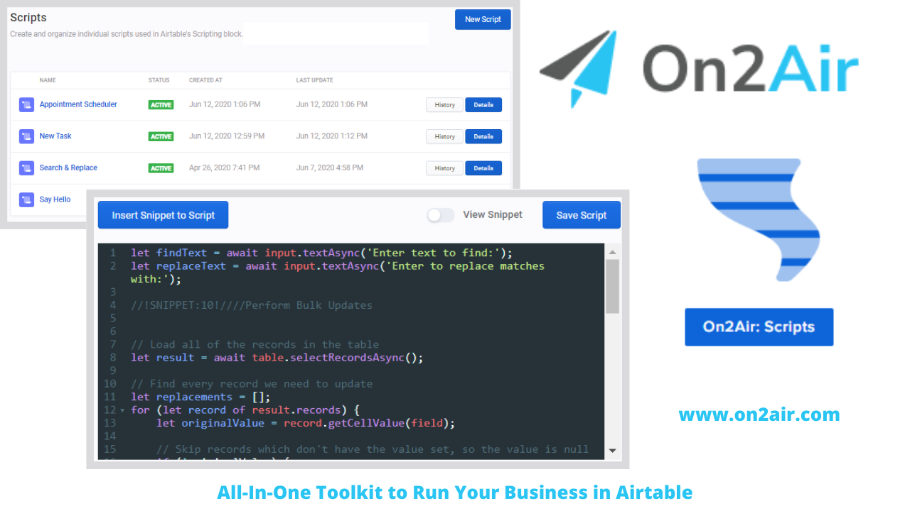 on2air_ scripts- All-In-One Toolkit to Run Your Business in Airtable