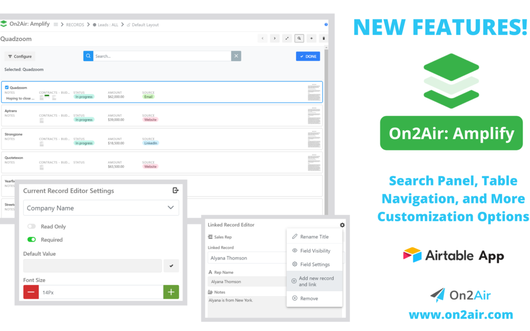 New Features! On2Air Amplify Update: Search Panel, Navigate between tables, More Customization