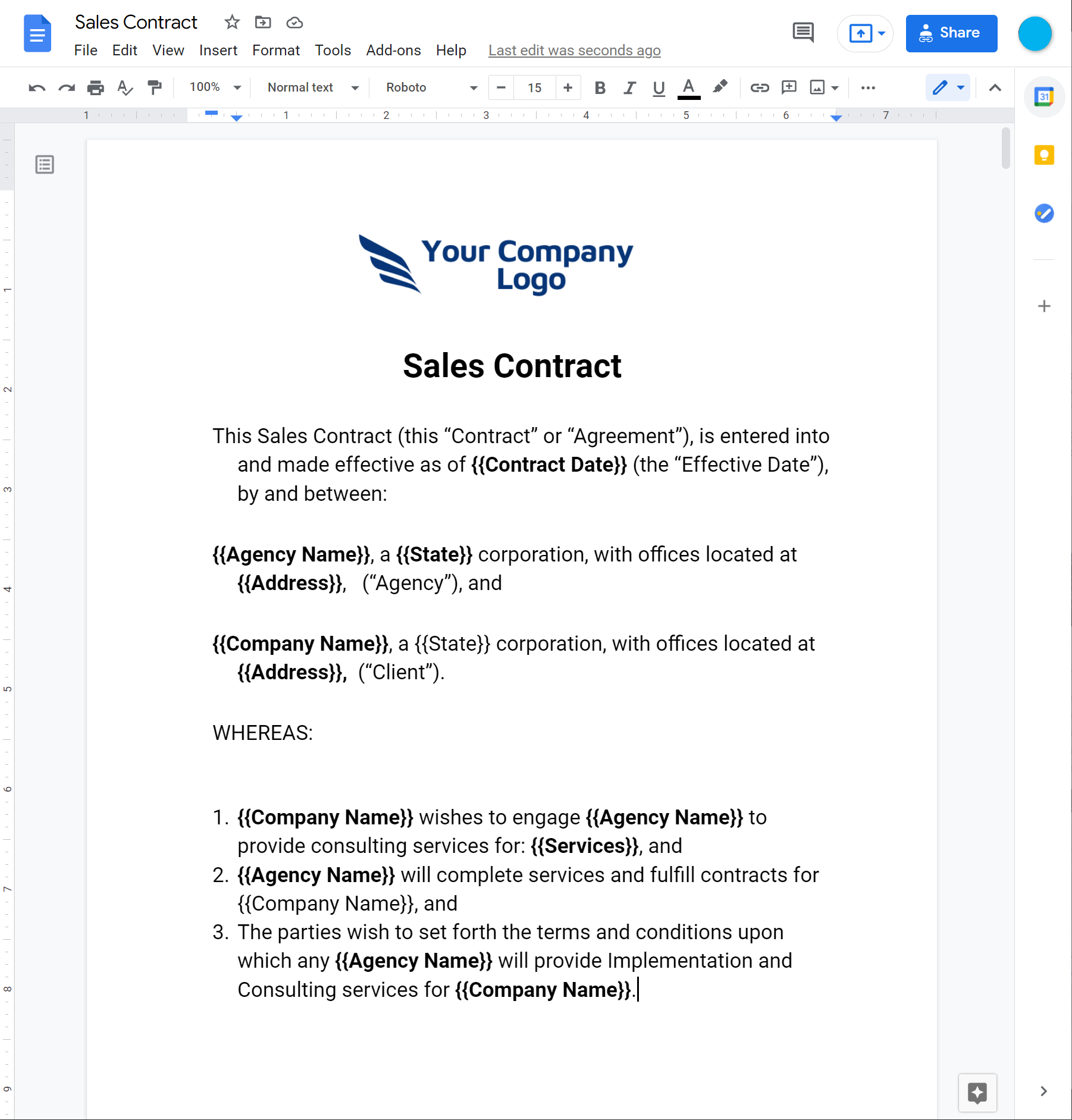sales contract - templated version-screenshot